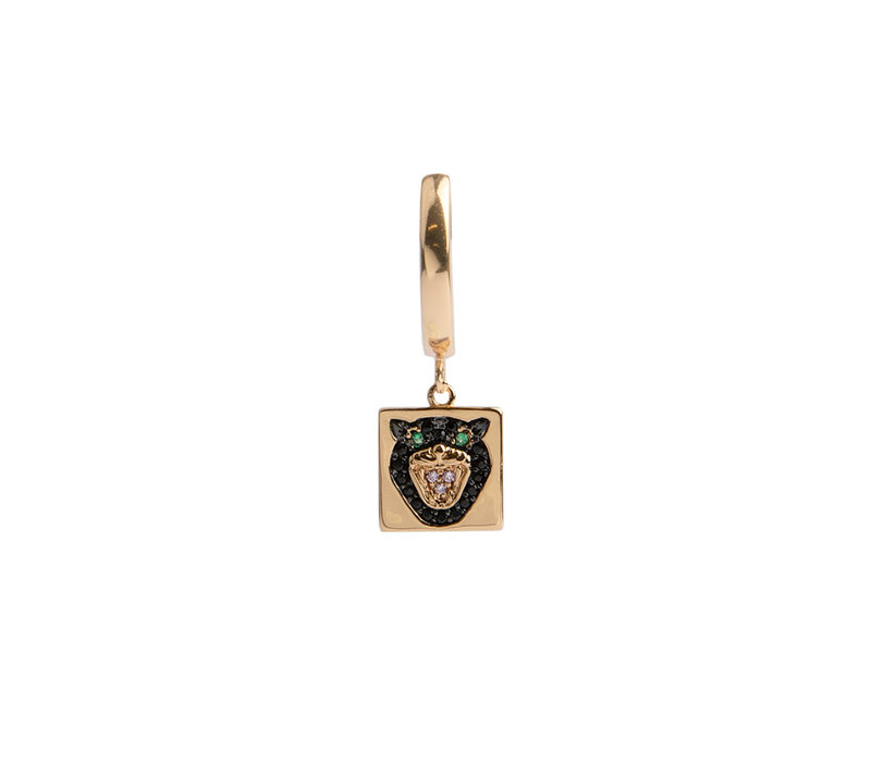 Bold Goldplated Earring Panter Square Multi Color