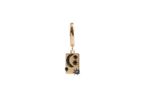 All the Luck in the World Bold Goldplated Earring Moon Stars Rectangle Black Blue