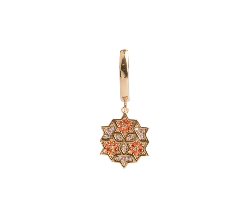 Oorbel Grafisch Ster Cirkel Oranje Roze 18K goud