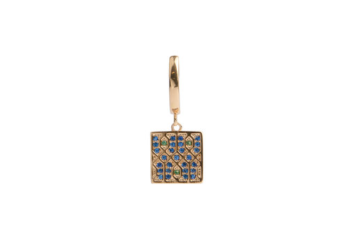 All the Luck in the World Bold Goldplated Oorbel Grafisch Vierkant Groen Blauw