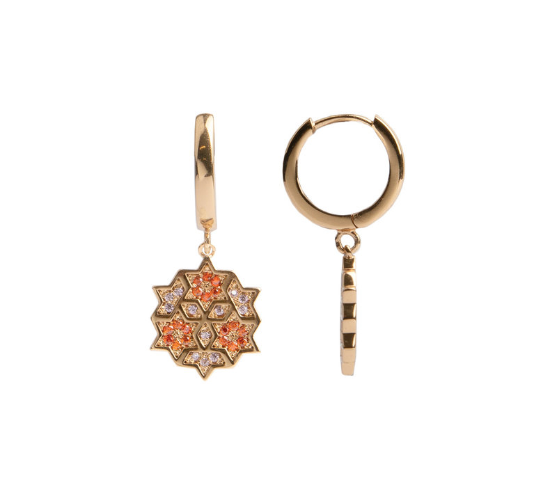 Earring Graphic Starry Circle Orange Pink 18K gold