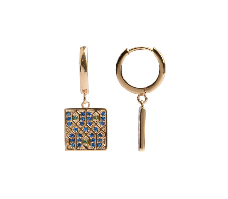 Earring Graphic Square Green Blue  18K gold