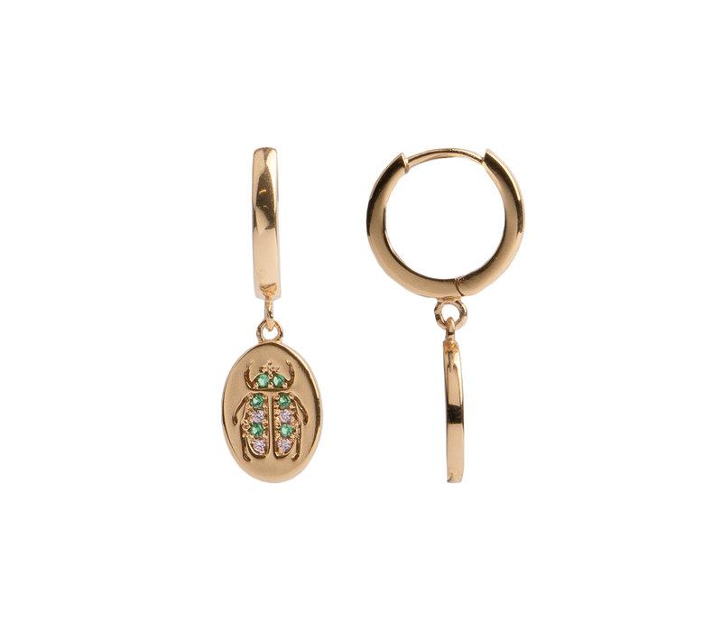 Earring Beatle Green Pink Oval 18K gold