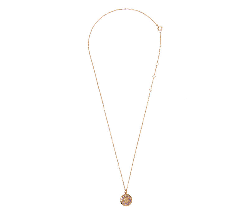 Bold Goldplated Ketting Zon Cirkel Paars Roze