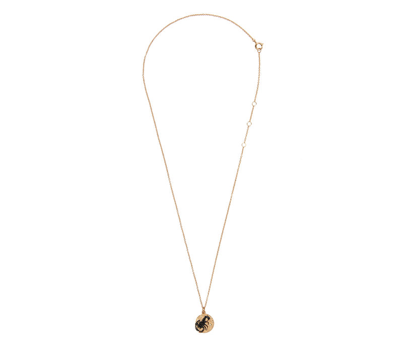 Bold Goldplated Necklace Scorpio Circle Black