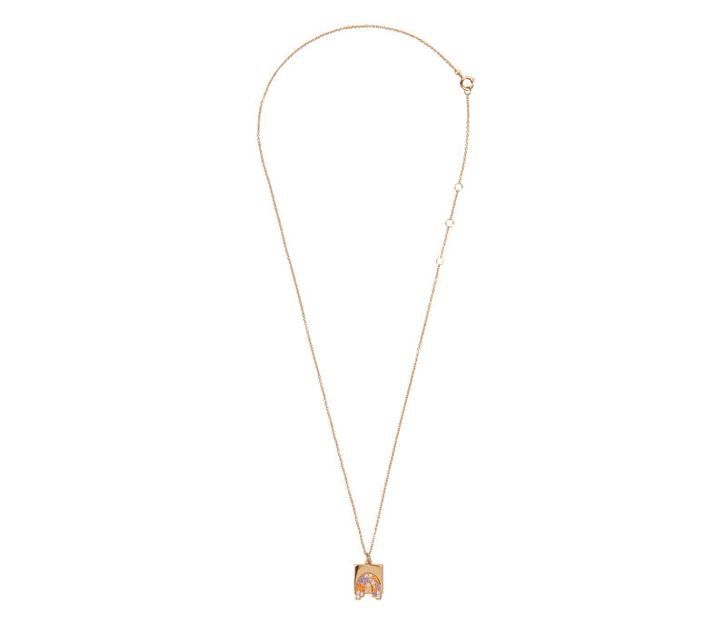 Bold Goldplated Necklace Rainbow Square Multi Color