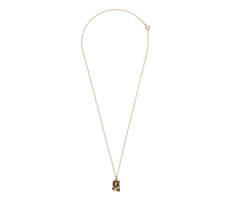 Necklace Moon Stars Rectangle Black Blue  18K gold