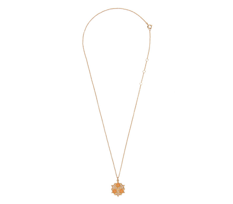 Bold Goldplated Necklace Graphic Starry Circle Orange Pink