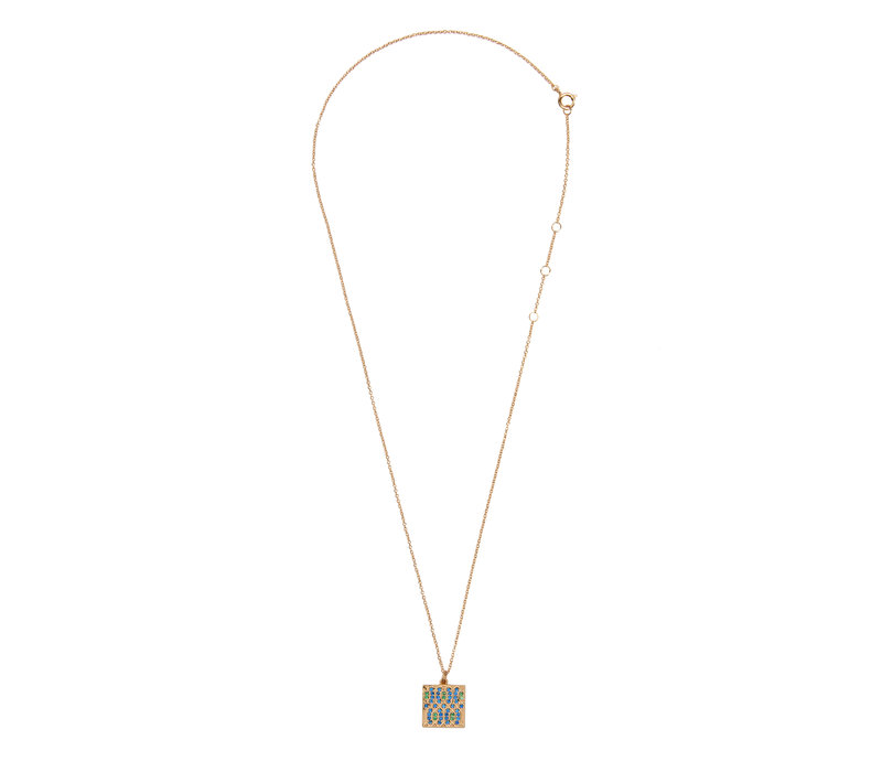 Necklace Graphic Square Green Blue  18K gold