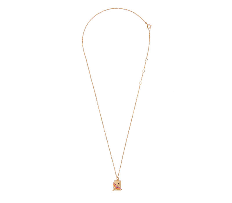 Bold Goldplated Necklace Crane Rectangle Multi Color