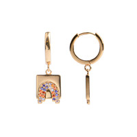 Earring Rainbow Square Multi Color plated