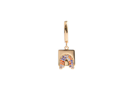All the Luck in the World Bold Goldplated Oorbel Regenboog Vierkant Multi