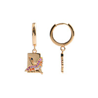 Earring Crane Rectangle Multi Color 18K gold