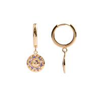 Oorbel Zon Cirkel Paars Roze 18K goud