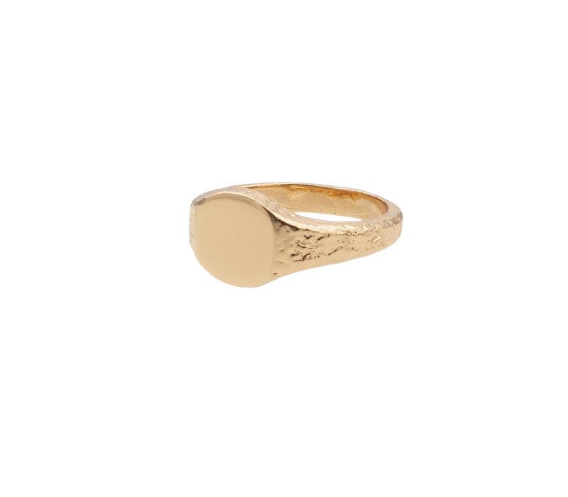 Ring Zegel Ovaal 18K gold