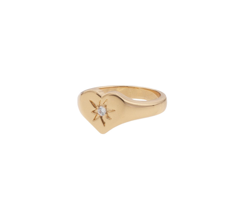 Ring Signet Heart Clear plated