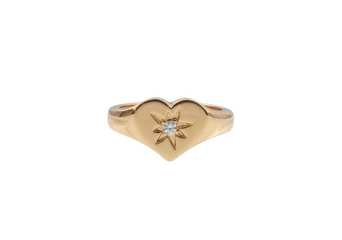 All the Luck in the World Chérie Goldplated Ring Signet Heart Clear