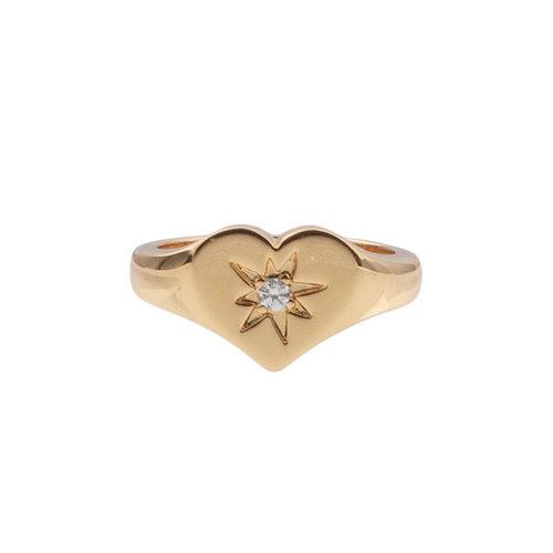 Chérie Goldplated Ring Zegel Hart Transparant