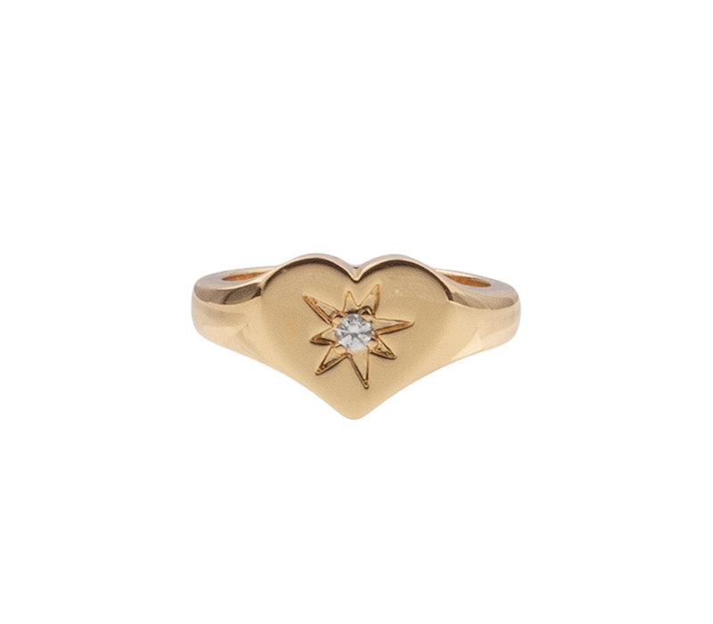 Ring Signet Heart Clear 18K gold