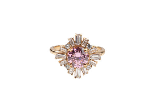 All the Luck in the World Chérie Goldplated Ring Zon Licht Roze Transparant
