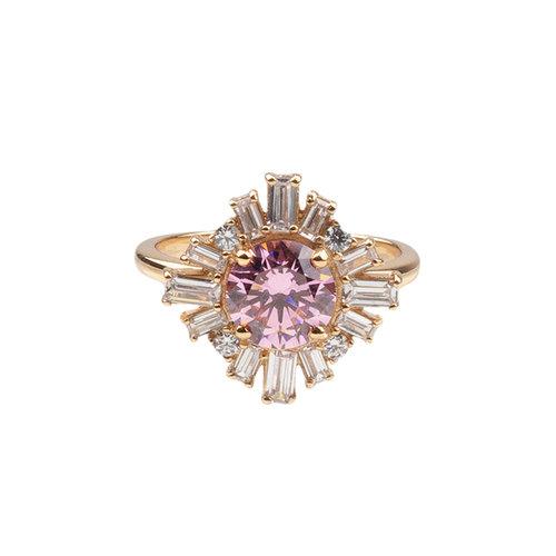 Ring Sun Light Pink Clear 18K gold