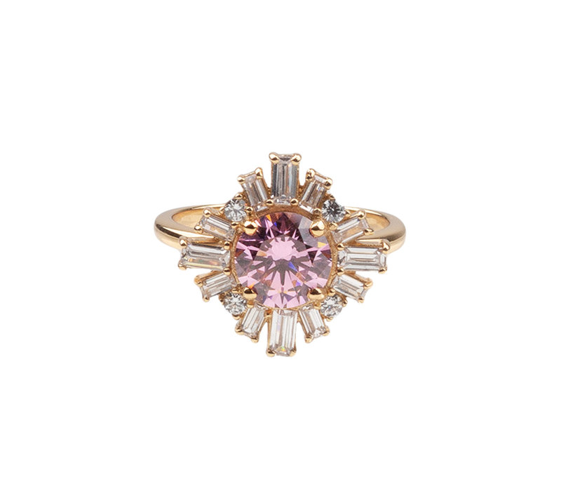 Chérie Goldplated Ring Zon Licht Roze Transparant