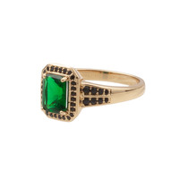 Ring Rectangle Green Black 18K gold