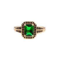 Ring Rechthoek Groen Zwart 18K gold