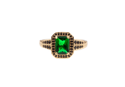 All the Luck in the World Chérie Goldplated Ring Rectangle Green Black