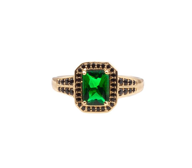 Chérie Goldplated Ring Rectangle Green Black