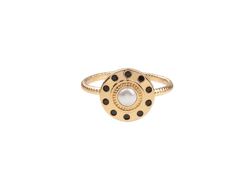 All the Luck in the World Chérie Goldplated Ring Circle Pearl Black