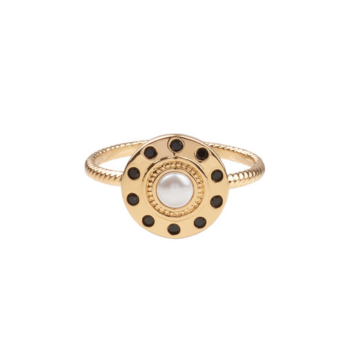 Ring Cirkel Parel Zwart 18K gold