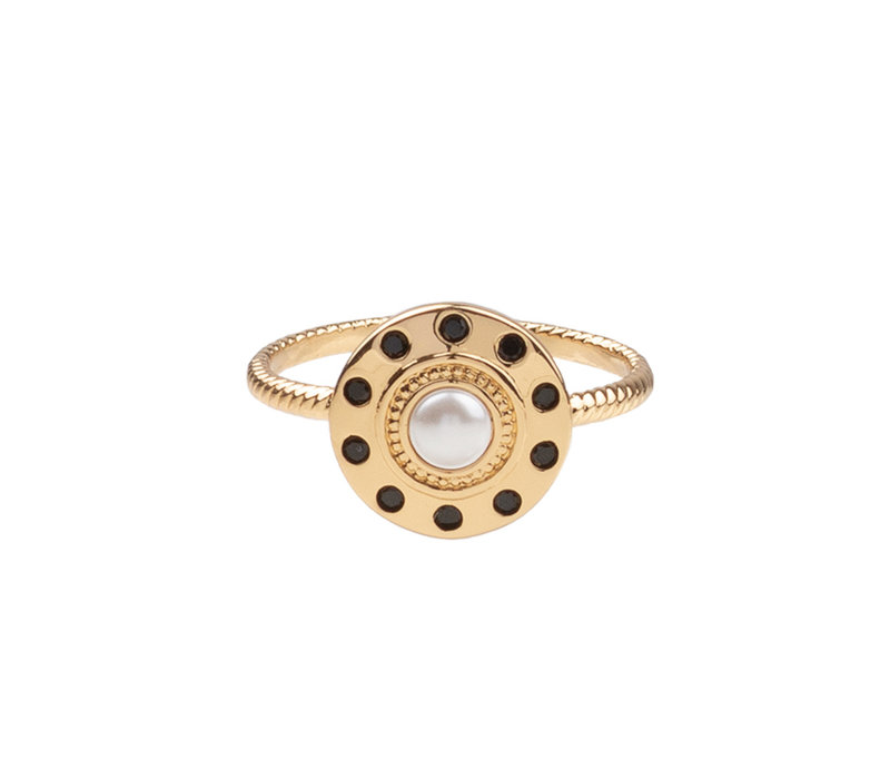 Ring Circle Pearl Black plated