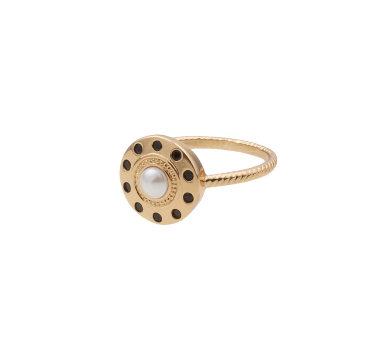 Chérie Goldplated Ring Circle Pearl Black