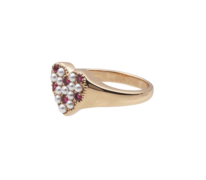 Ring Heart Pearls Pink 18K gold