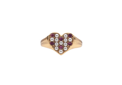 All the Luck in the World Ring Heart Pearls Pink 18K gold