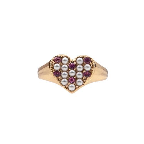Chérie Goldplated Ring Hart Parels Roze