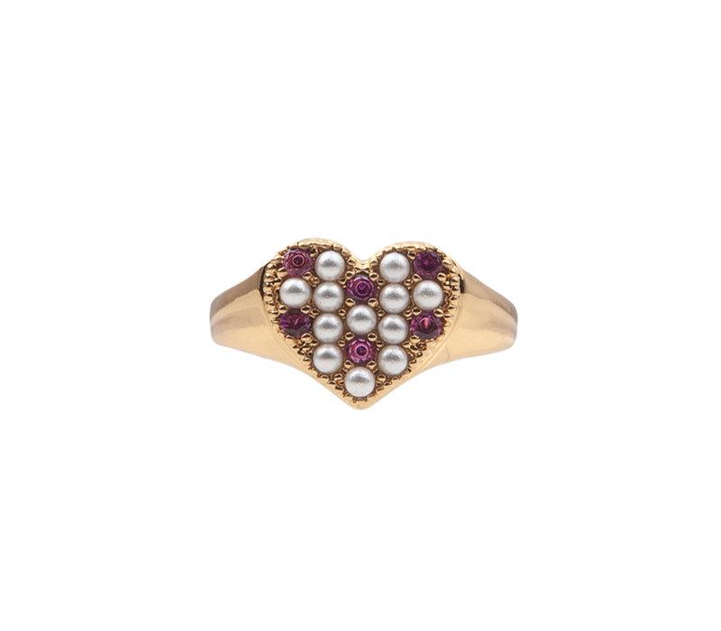 Ring Hart Parels Roze 18K gold