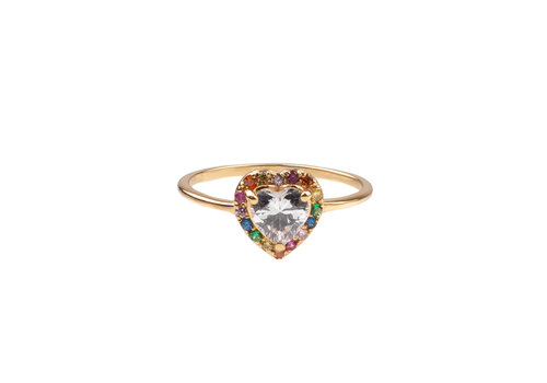All the Luck in the World Chérie Goldplated Ring Heart Multi Clear