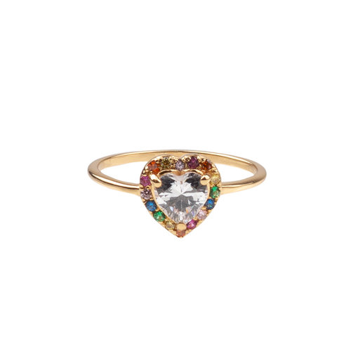 Ring Hart Multi Transparant 18K gold