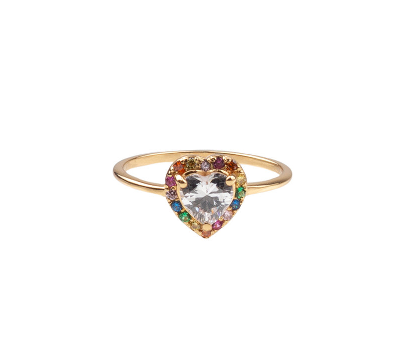 Chérie Goldplated Ring Hart Multi Transparant