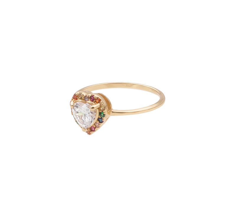 Chérie Goldplated Ring Heart Multi Clear