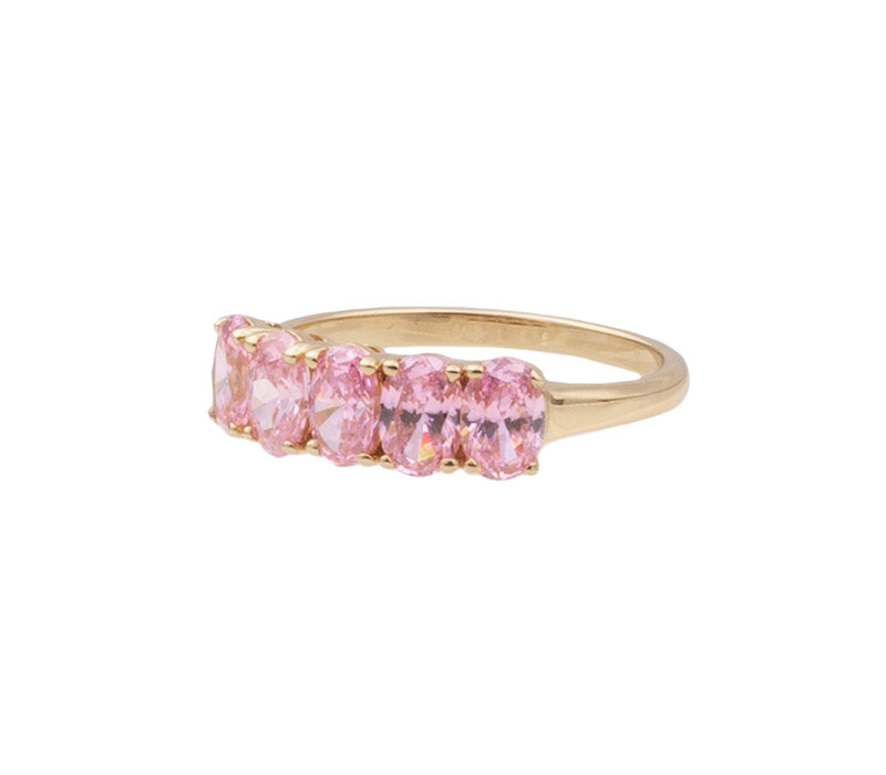 Ring Ovals Light Pink plated
