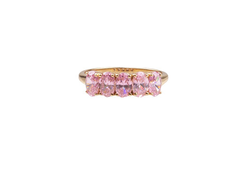 All the Luck in the World Chérie Goldplated Ring Ovals Light Pink