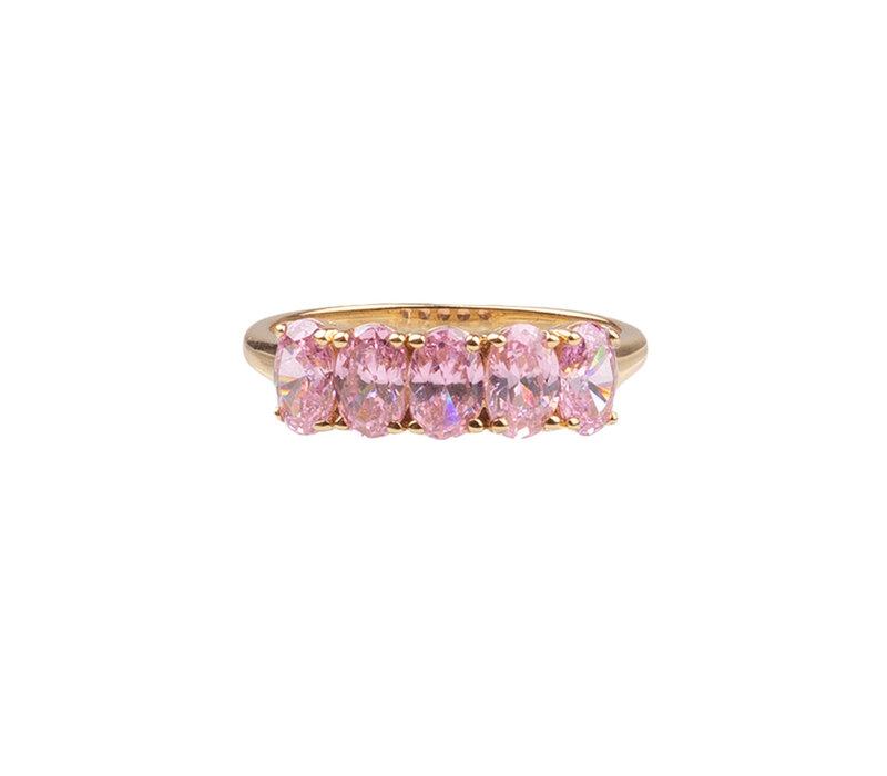 Ring Ovalen Licht Roze verguld