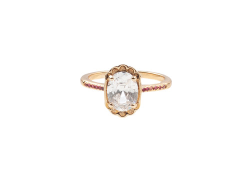 All the Luck in the World Chérie Goldplated Ring Ovaal Transparant Roze