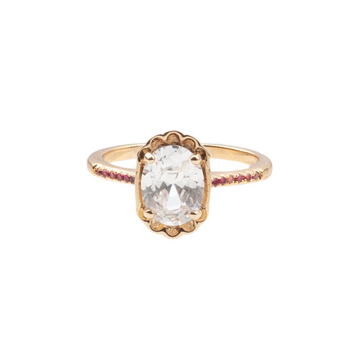 Chérie Goldplated Ring Oval Clear Pink
