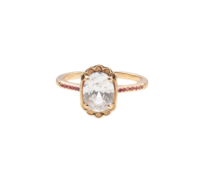Ring Oval Clear Pink plated