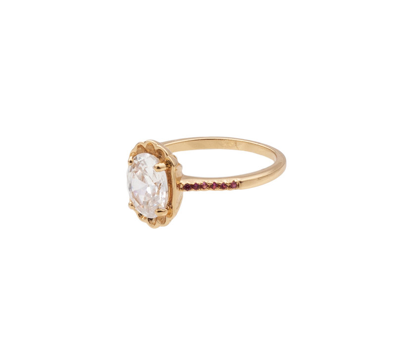 Ring Ovaal Transparant Roze 18K gold