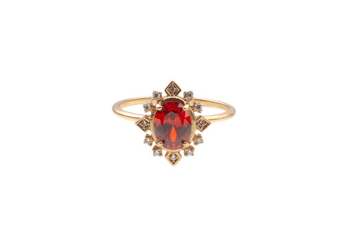 All the Luck in the World Ring Oval Red Clear 18K gold